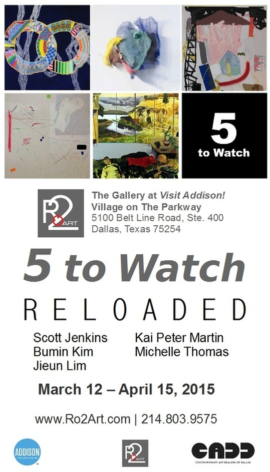 '5 to Watch' presented by Ro2 Art and The Town Of Addison, November 17- December 28, 2014 (Clockwise from Left) Yuni Lee, Rachel Fischer, Bumin Kim, Michelle Thomas, Kai Peter Martin